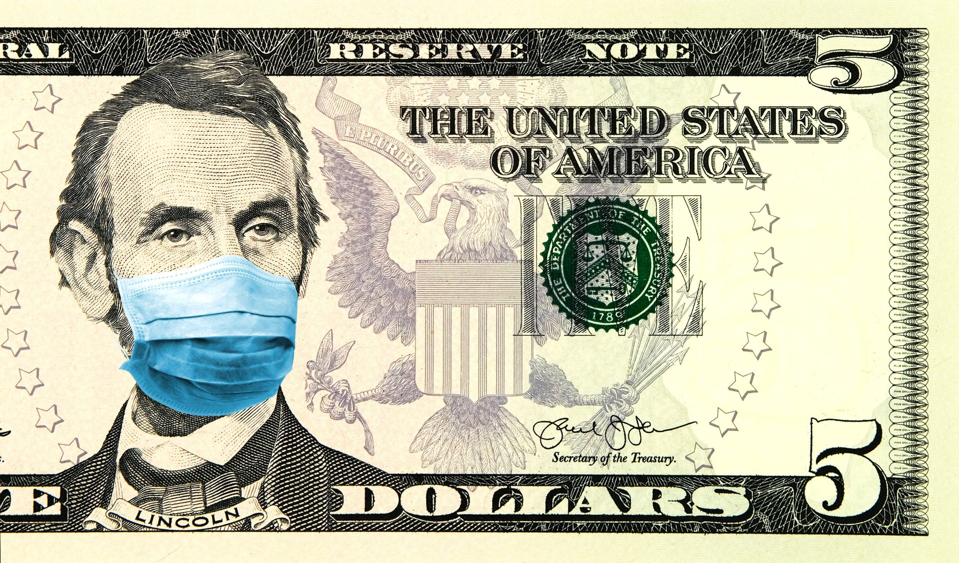 Abraham Lincoln wearing a face mask on the $5 bill during the coronavirus pandemic