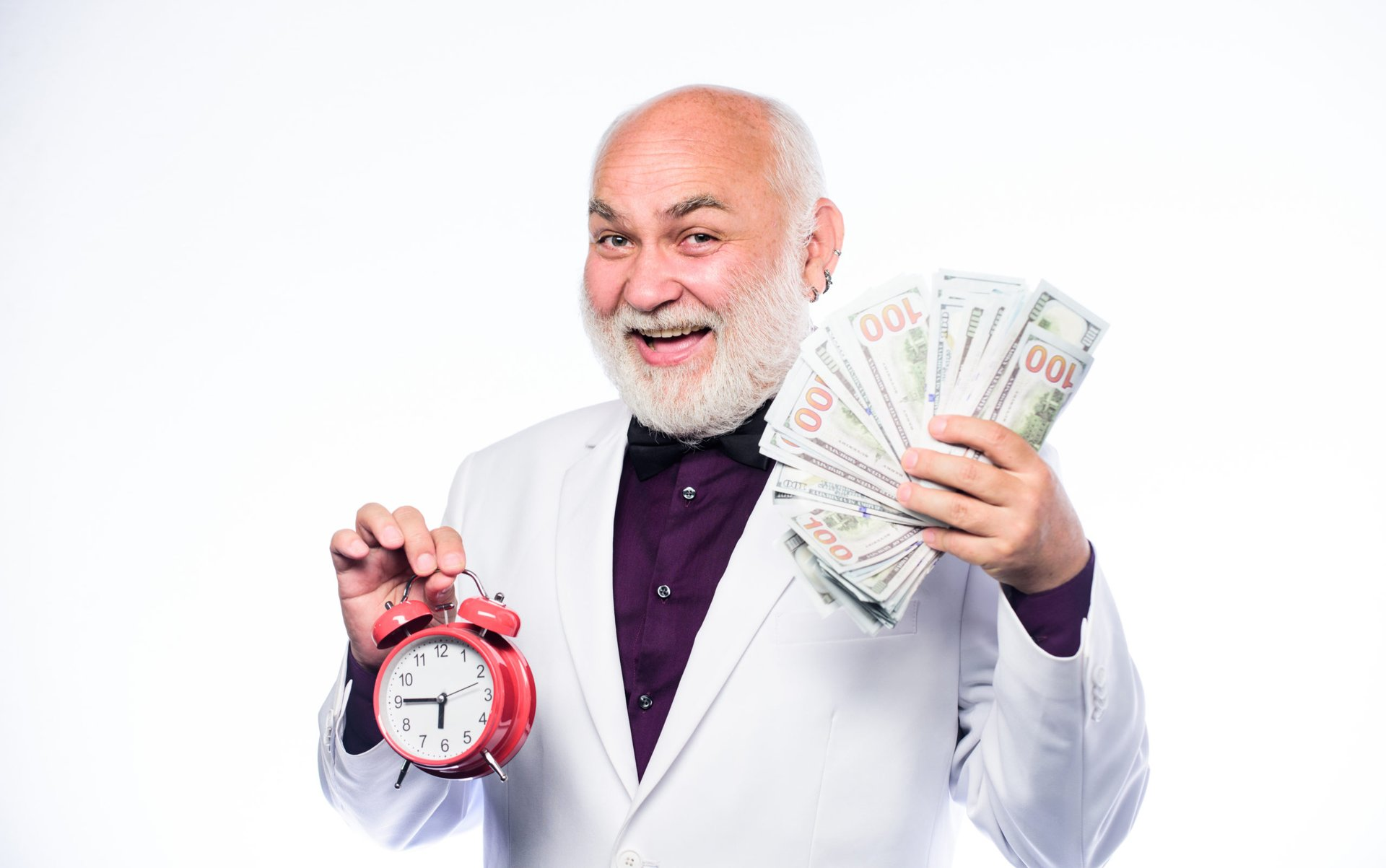Retiree with money and a clock.