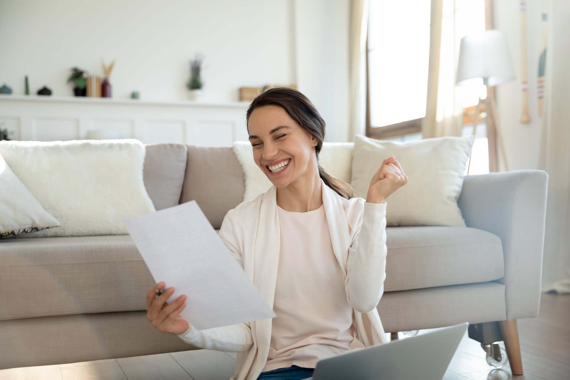 Woman happy with her free tax filing online