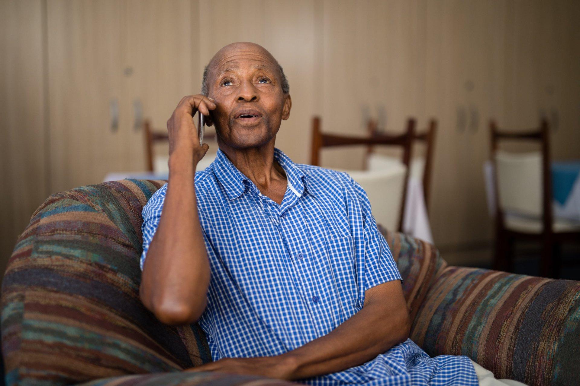 Senior man talking on mobile phone