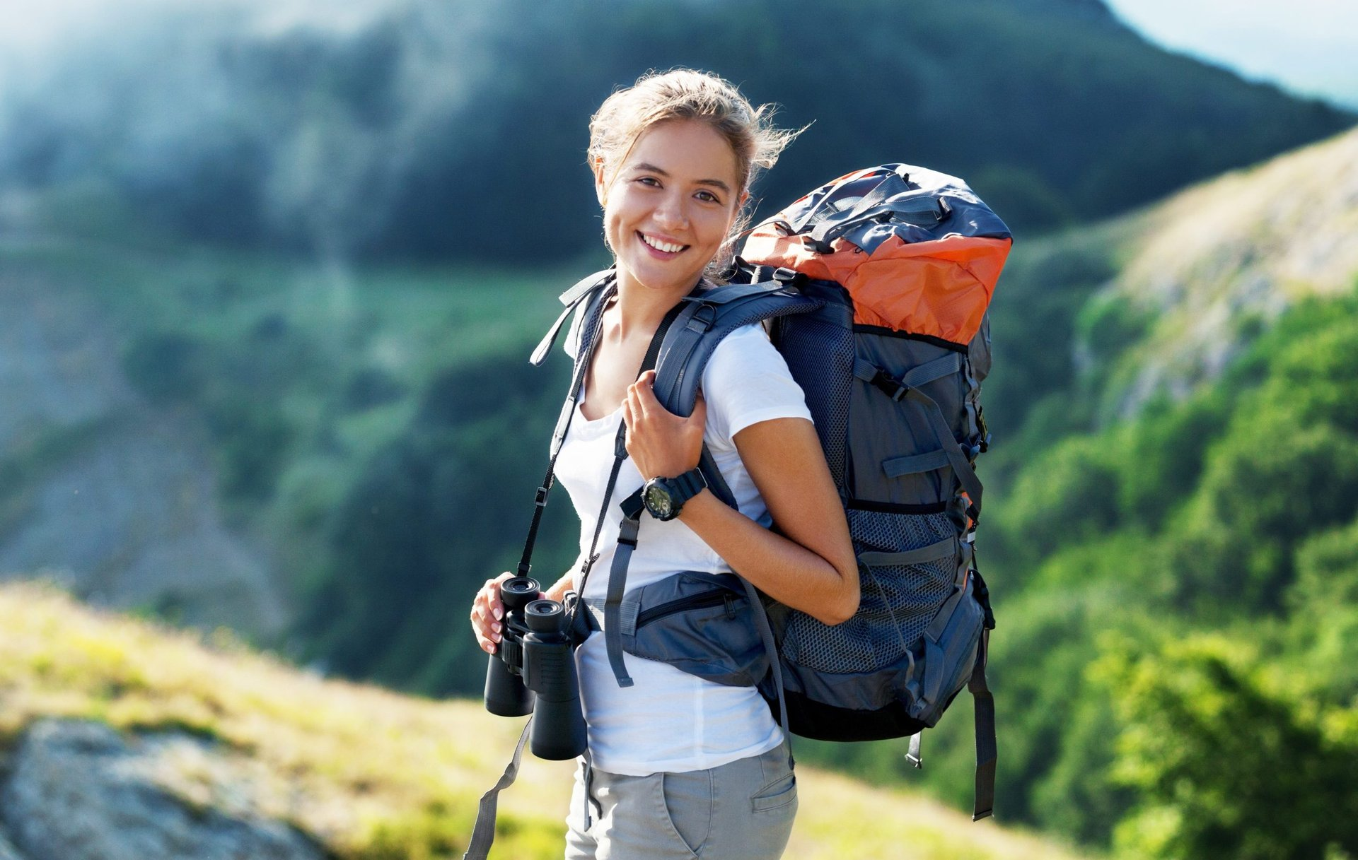 Traveler hiking with a backpack