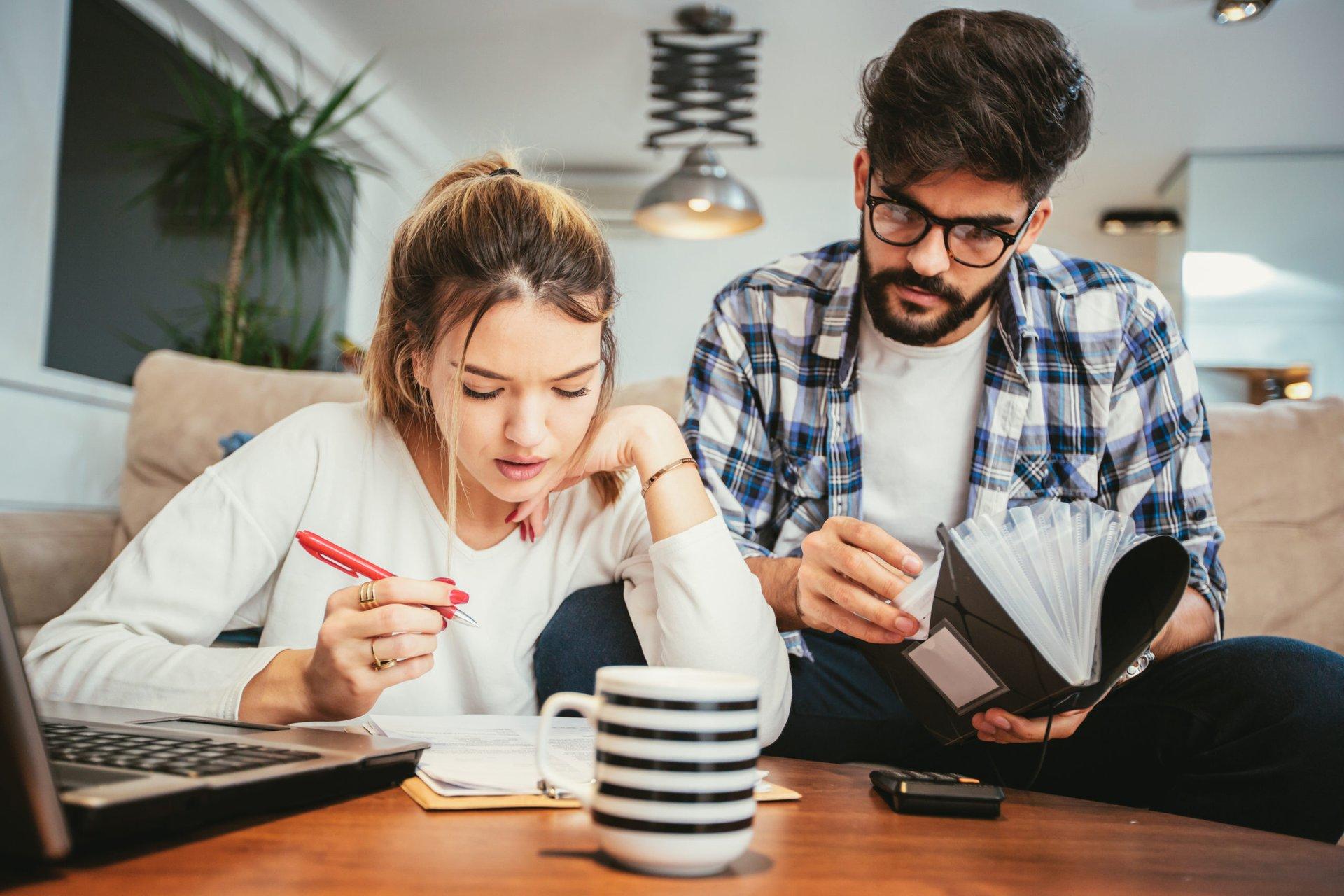 a couple prepares for tax season