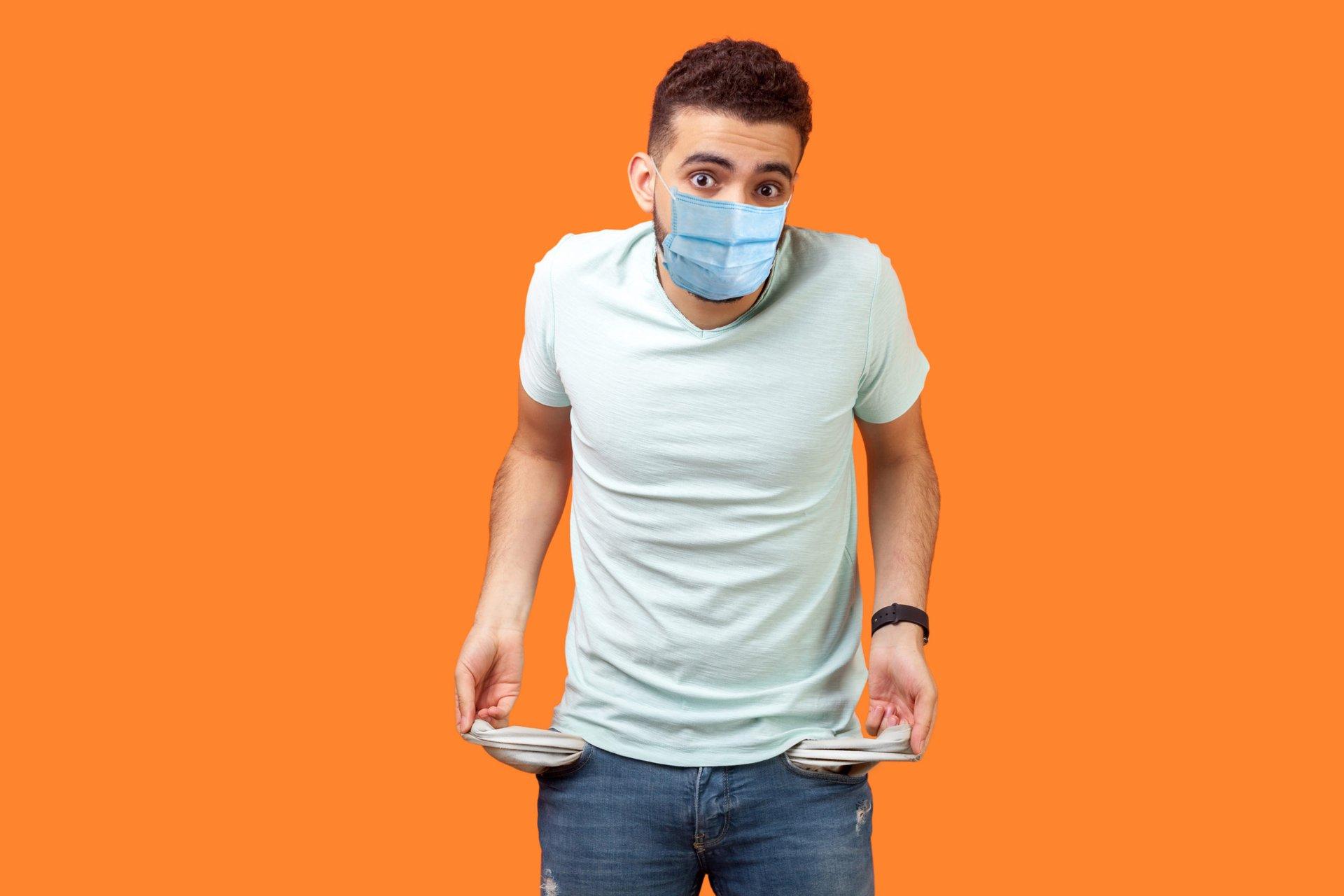 broke man in a medical mask
