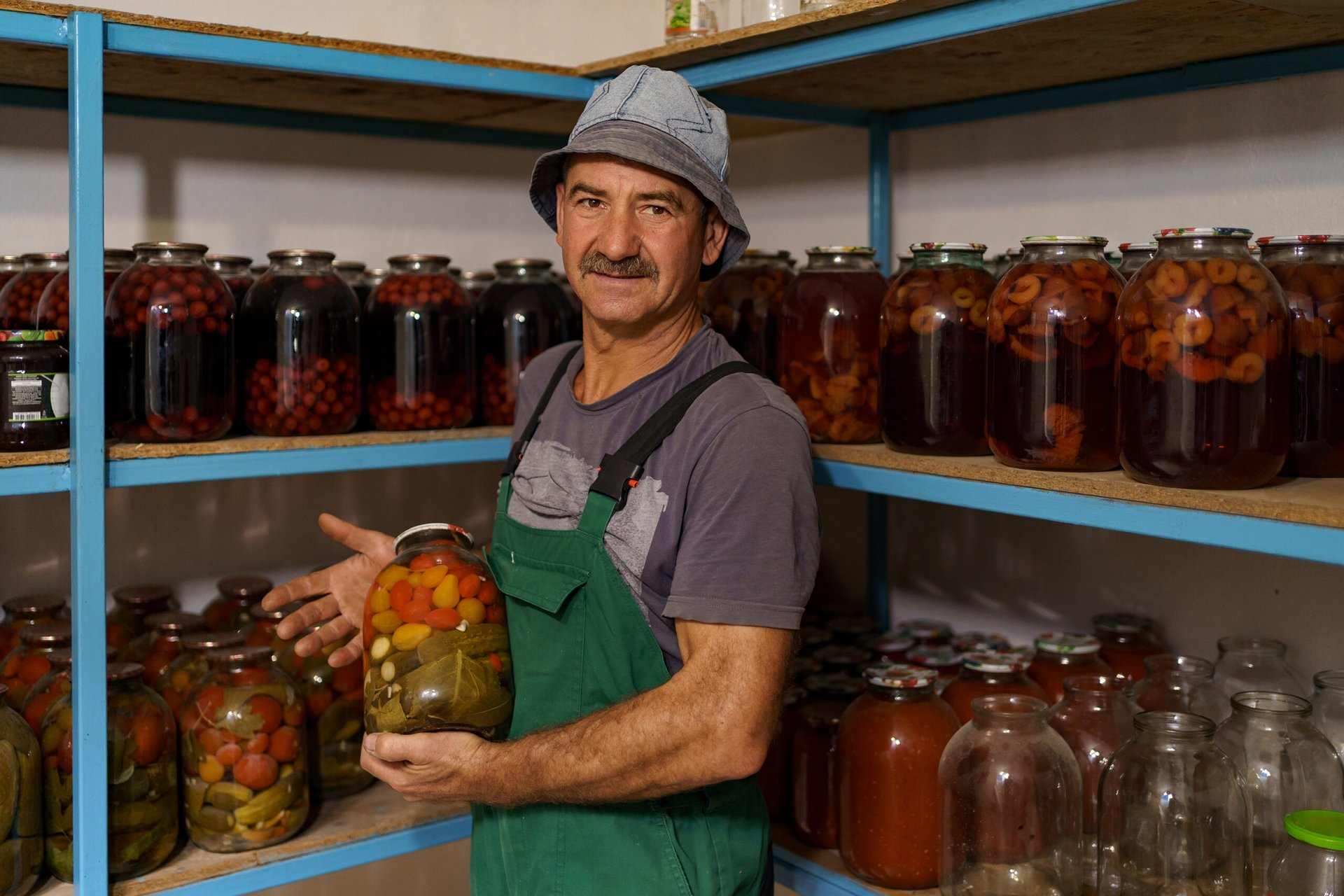 Man canning foods