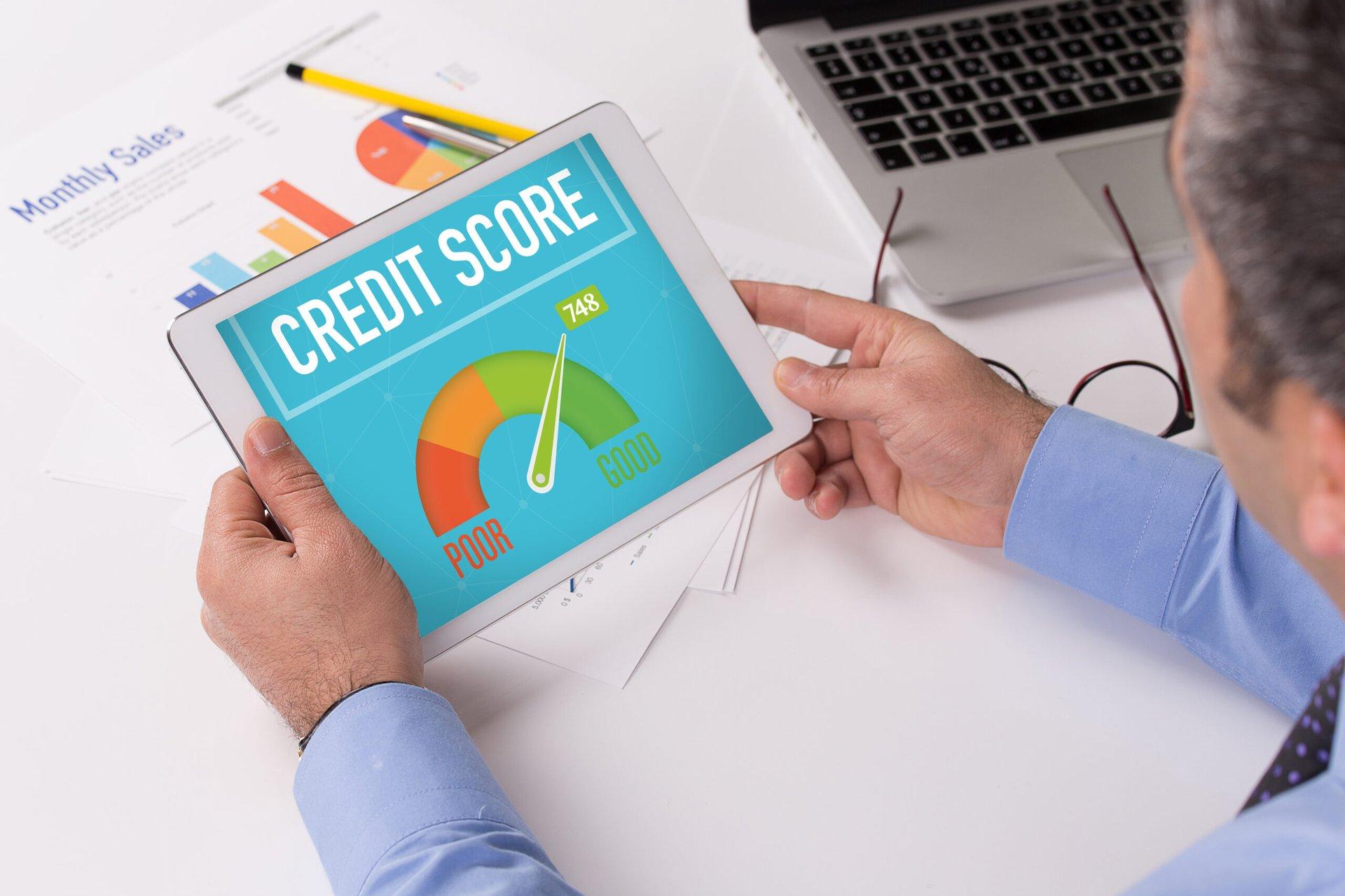 Man checking his credit score