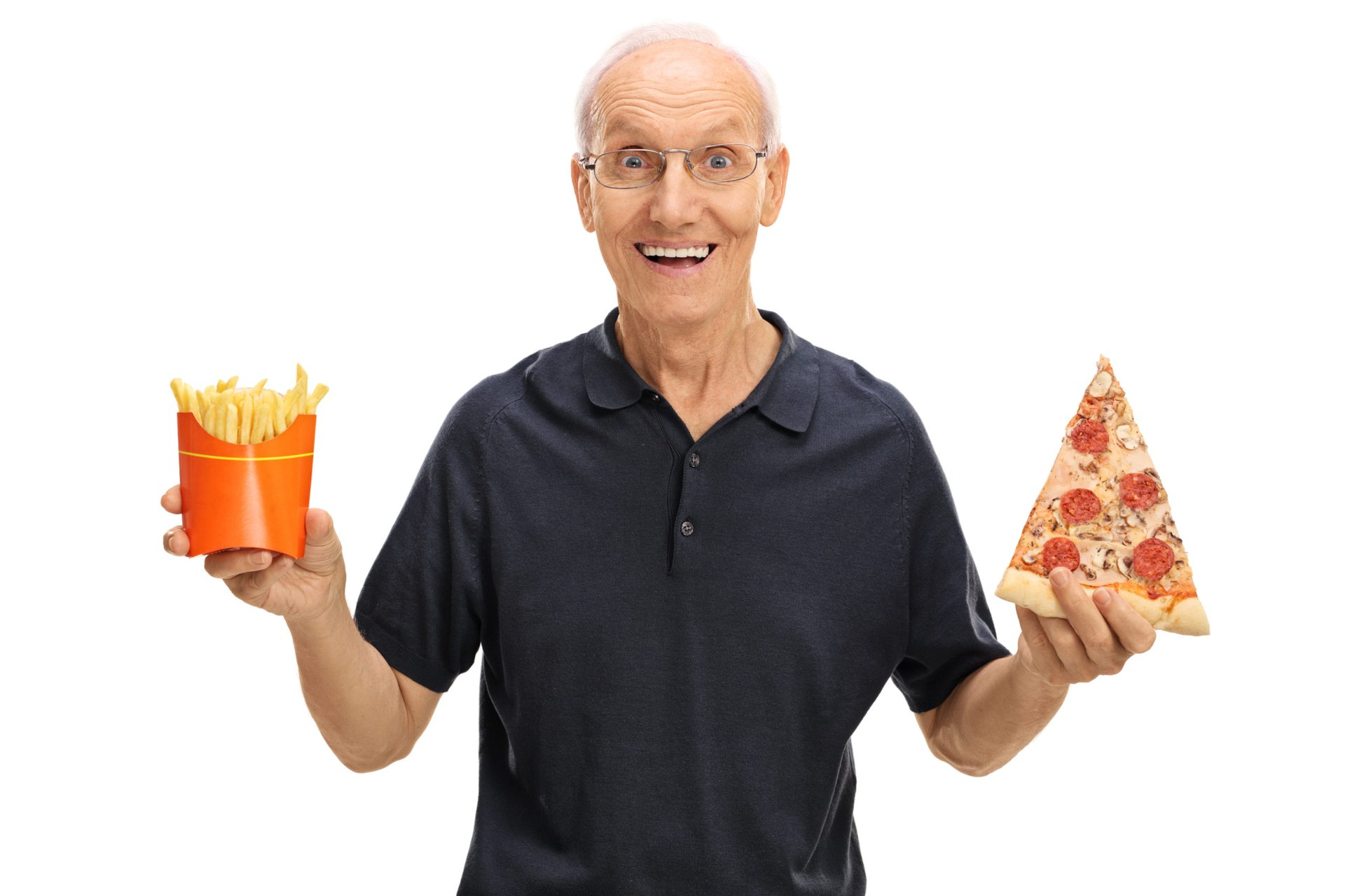 Elderly man holding a slice of pizza and fries