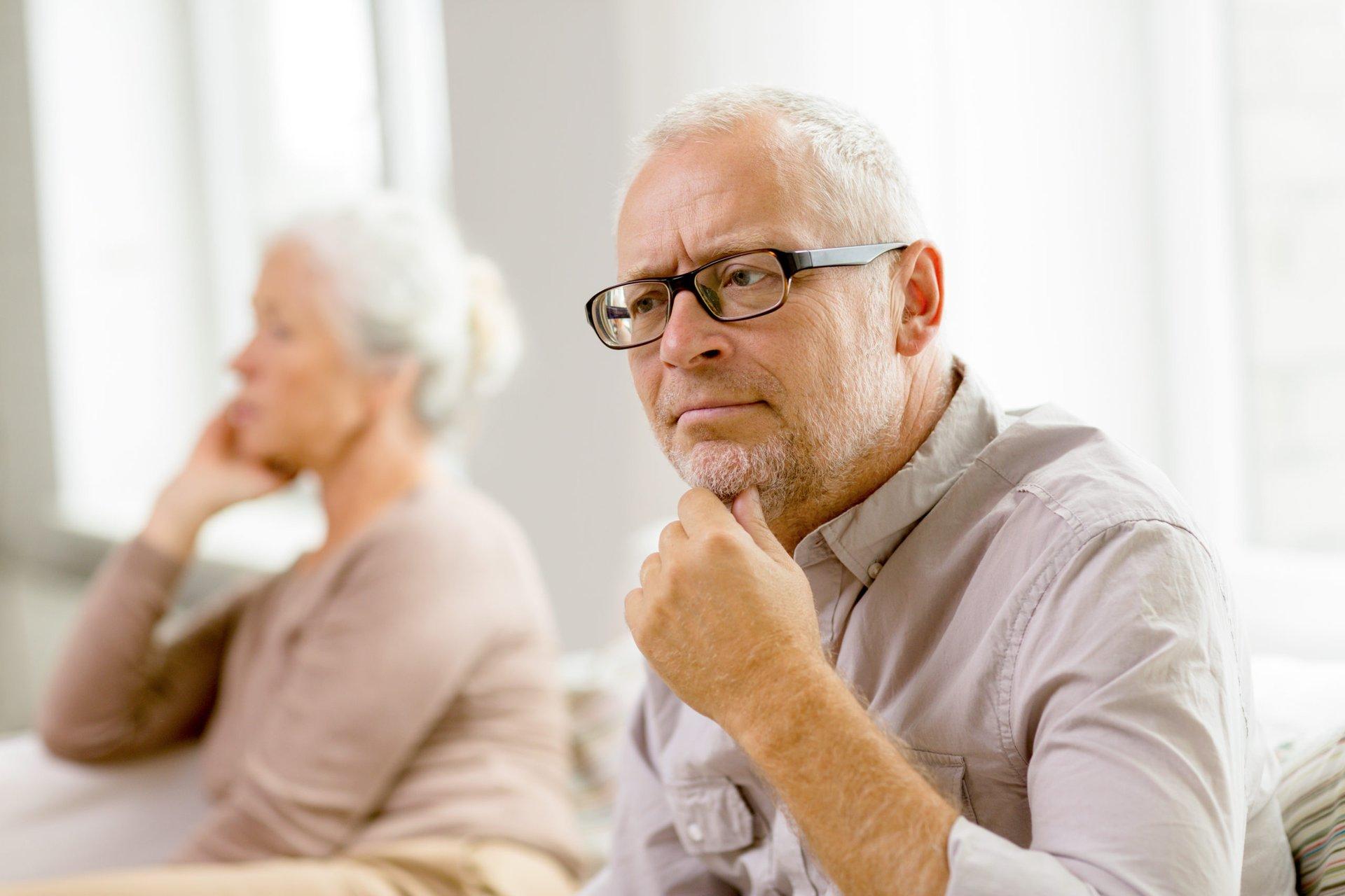 Divorced senior couple