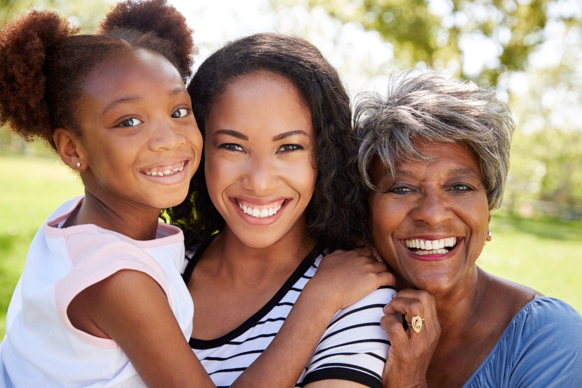 Grandmother, daughter and grandchild