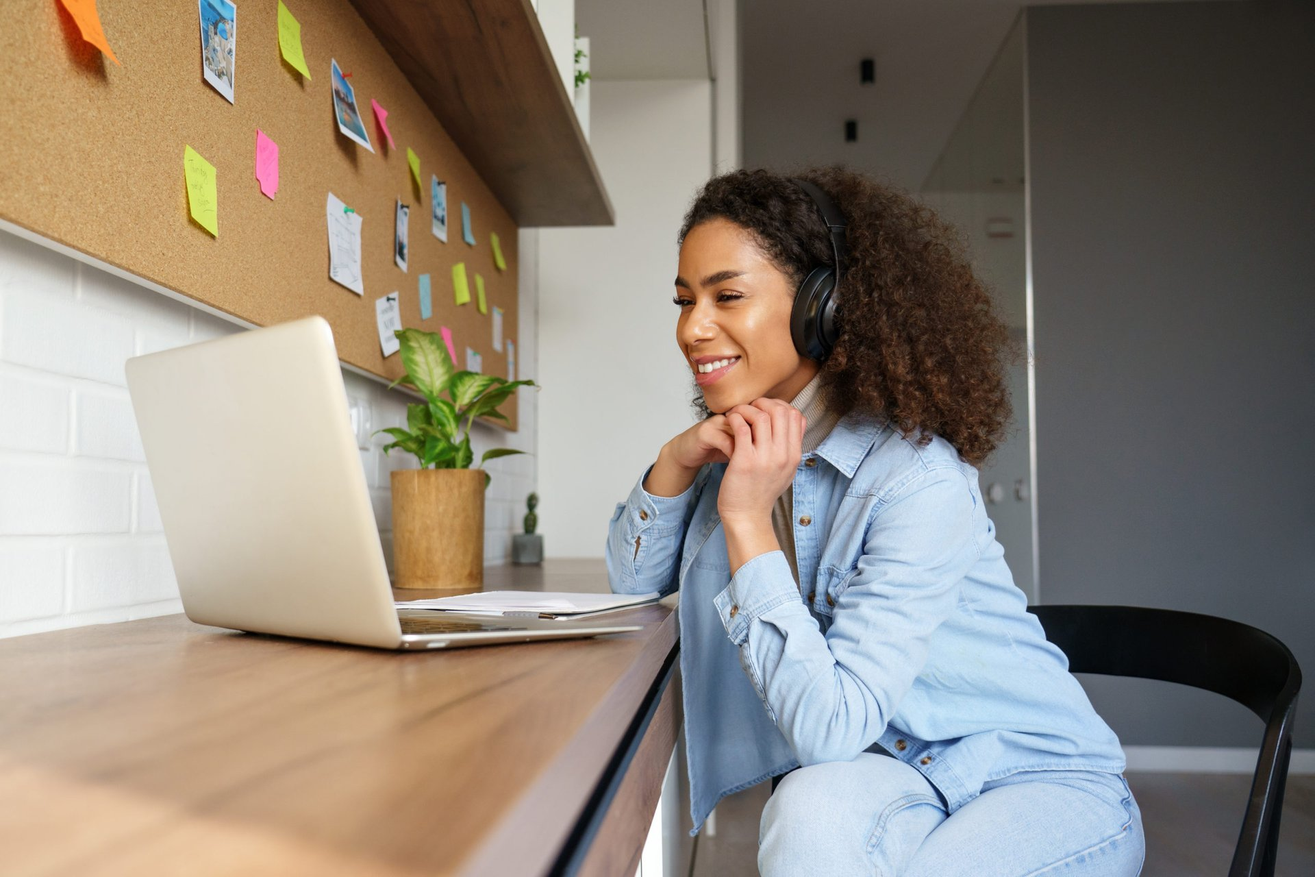 Woman working remotely helping others