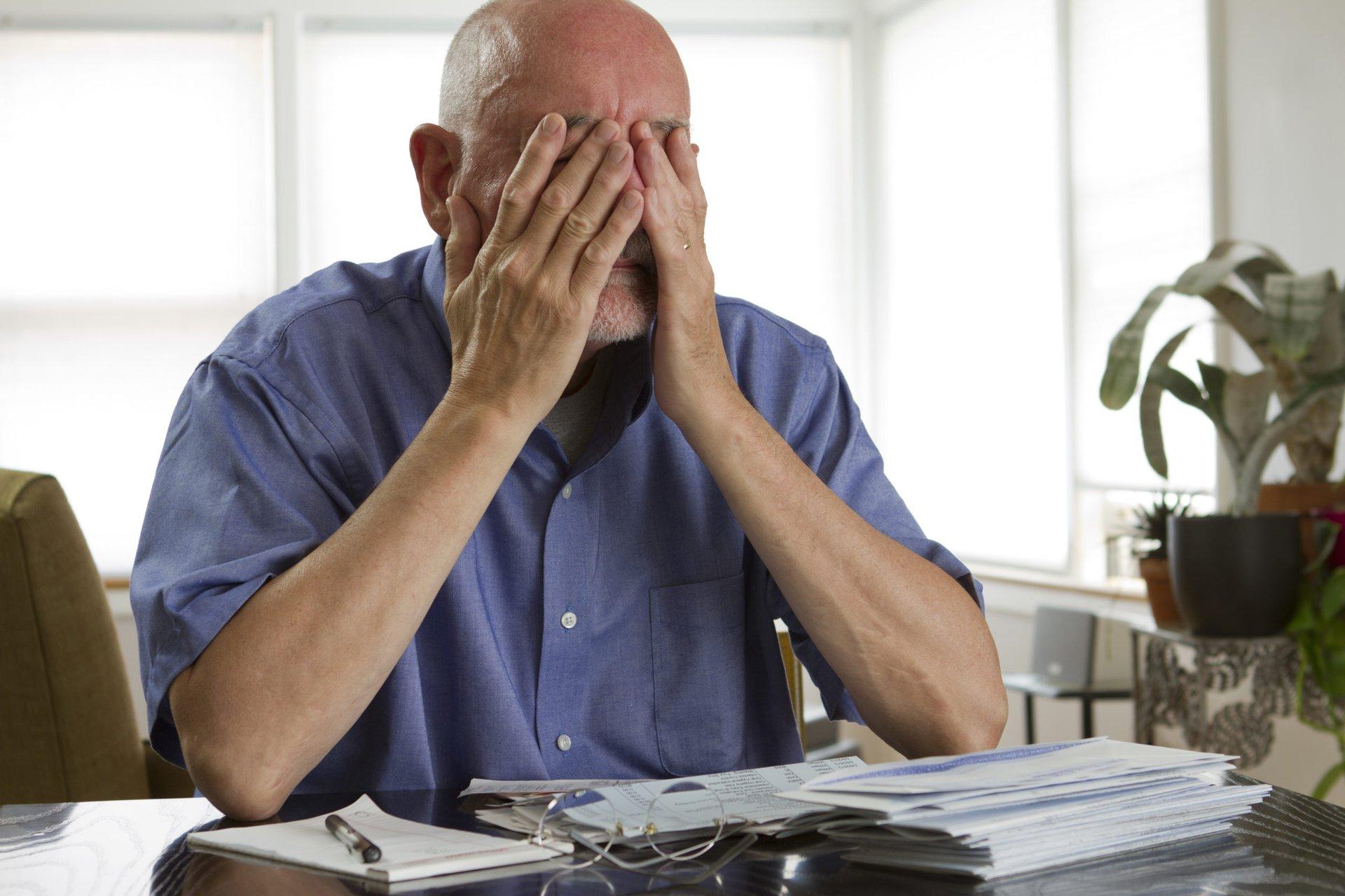 Worried man in retirement
