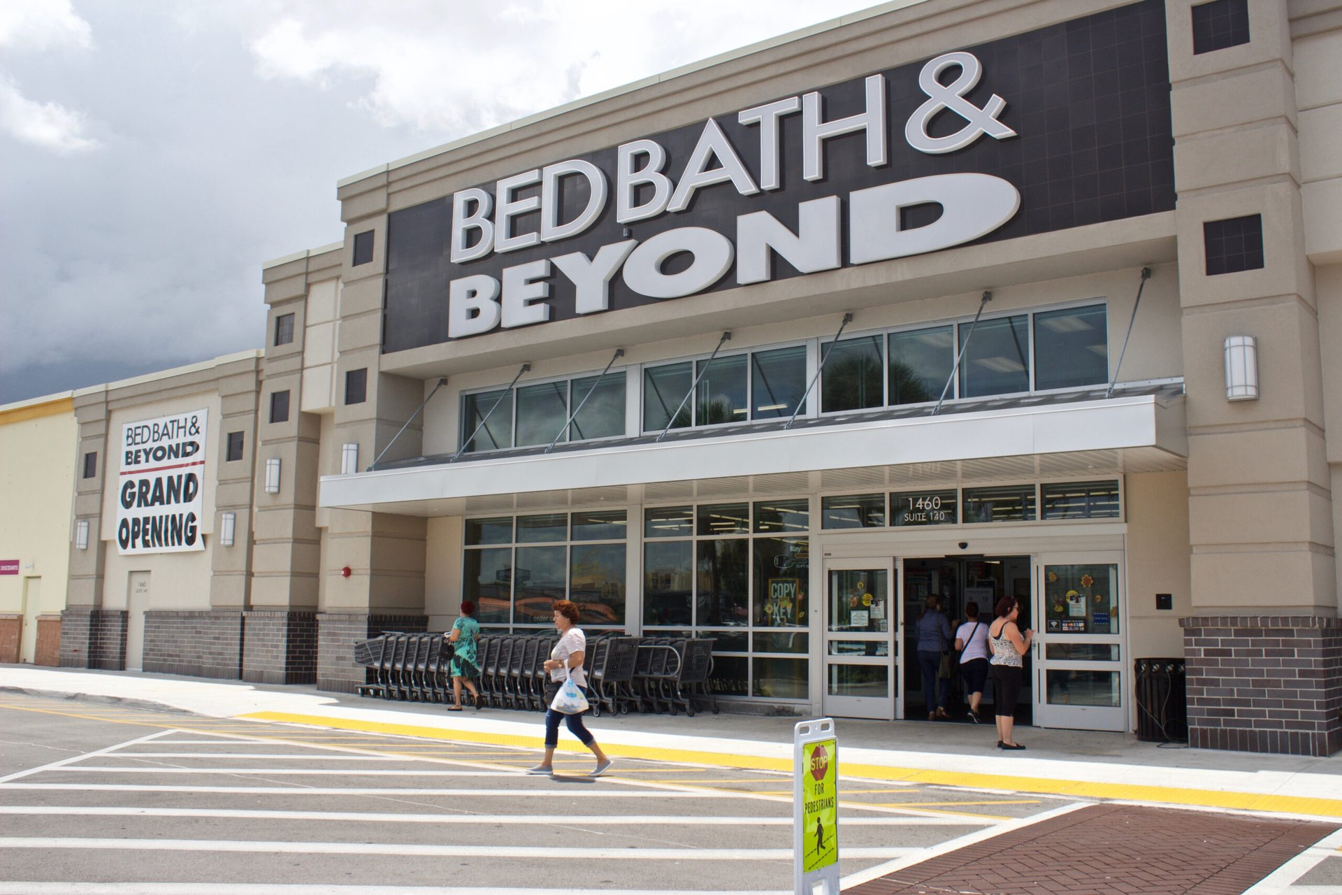 Shoppers at a Bed Bath & Beyond store