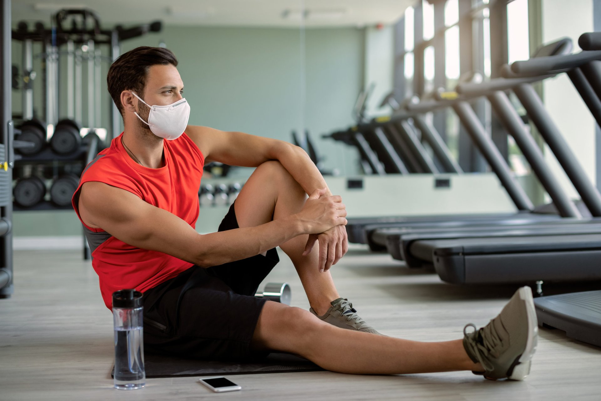 Man exercising with mask