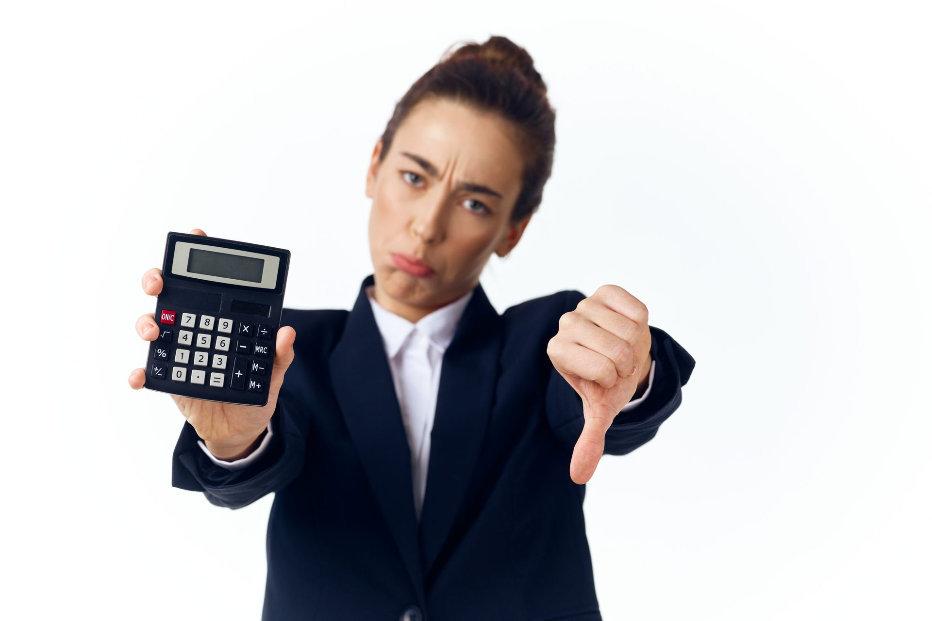 Rich woman holding a calculator