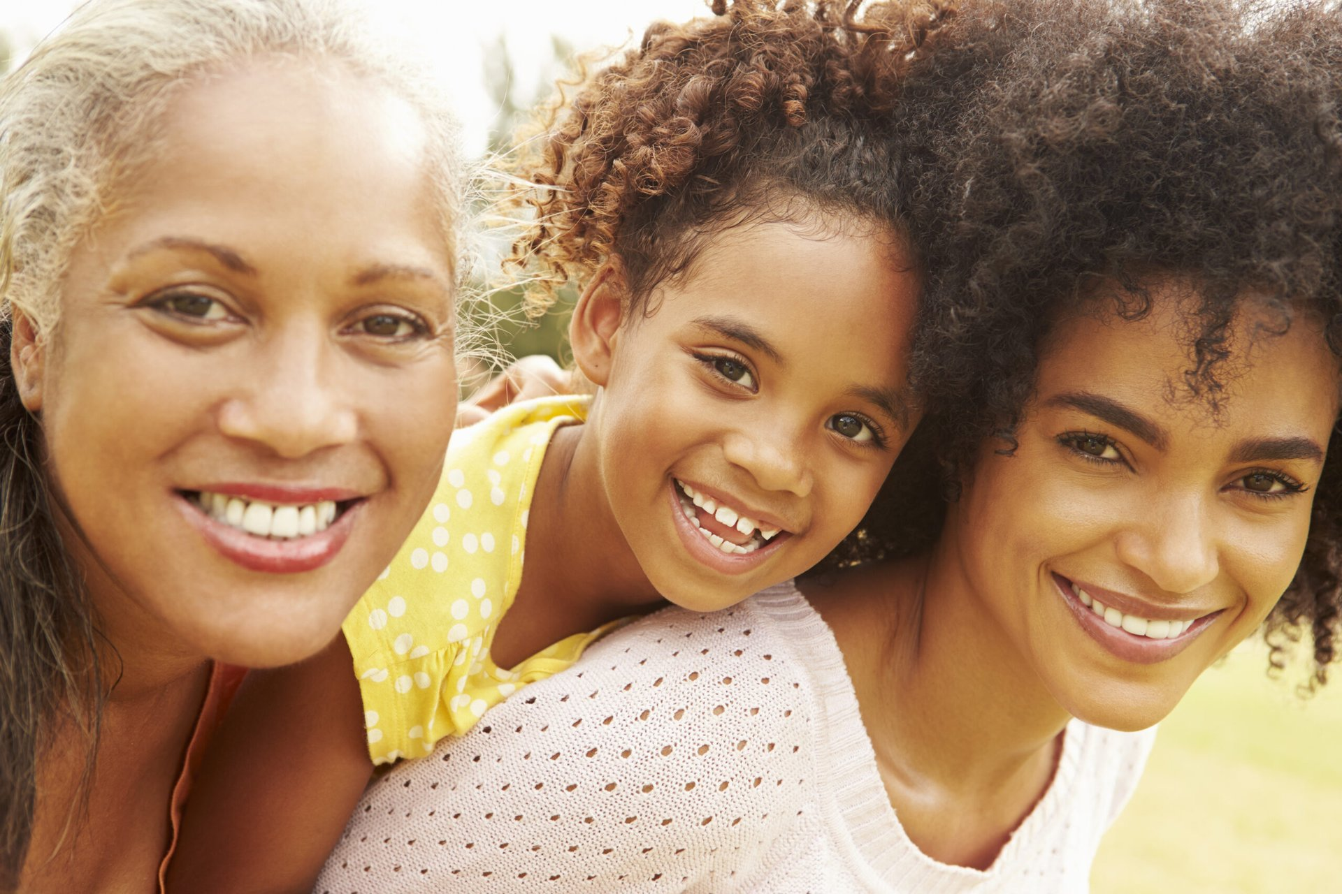 Portrait of three generations of females