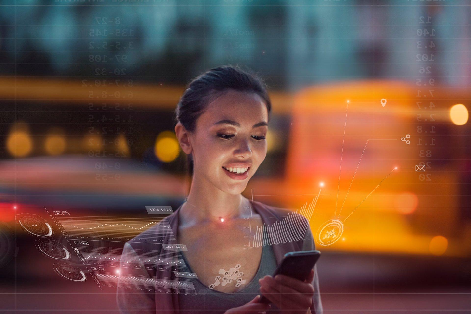 Woman using her smartphone data