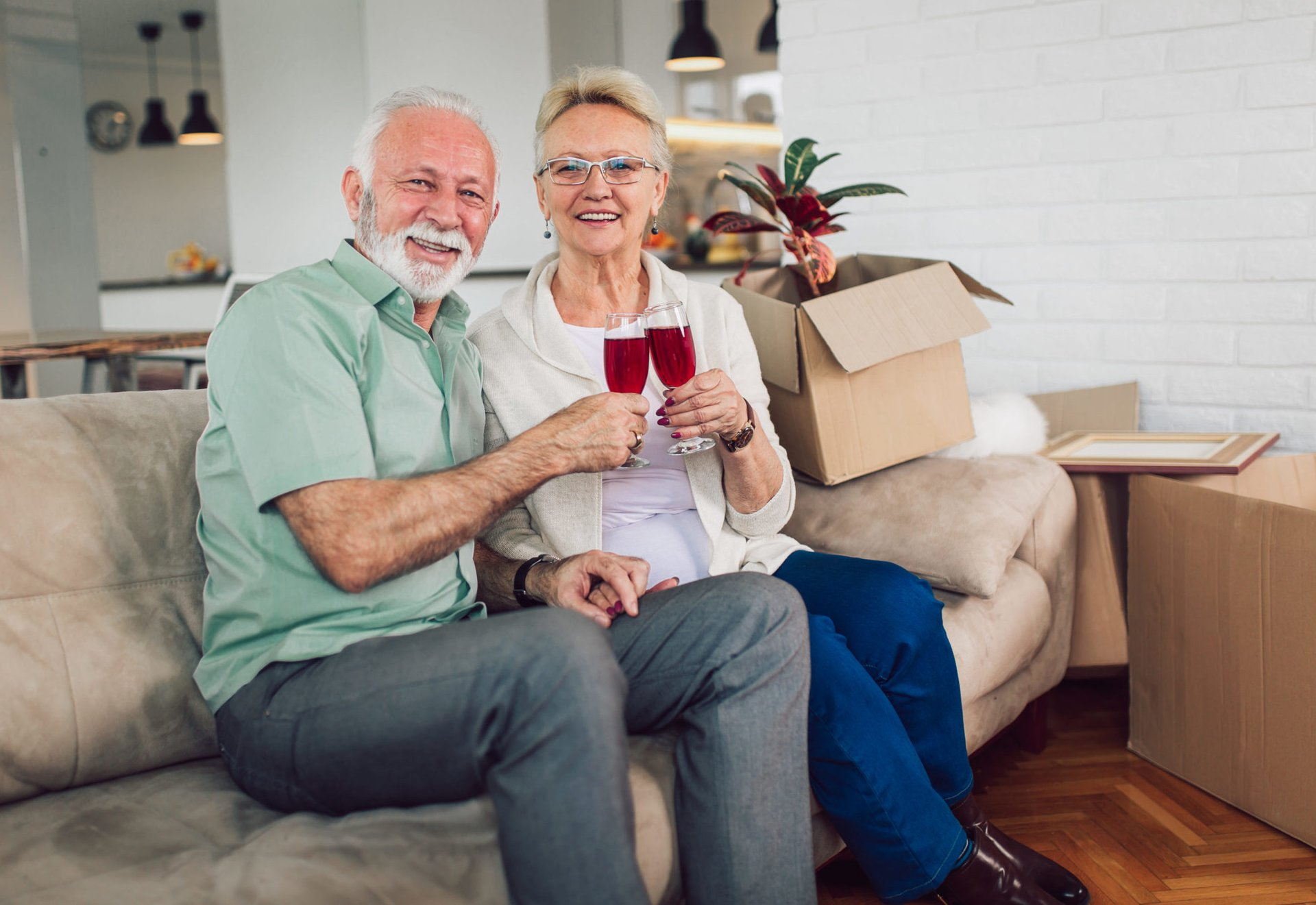 Retired couple downsizing to a smaller home