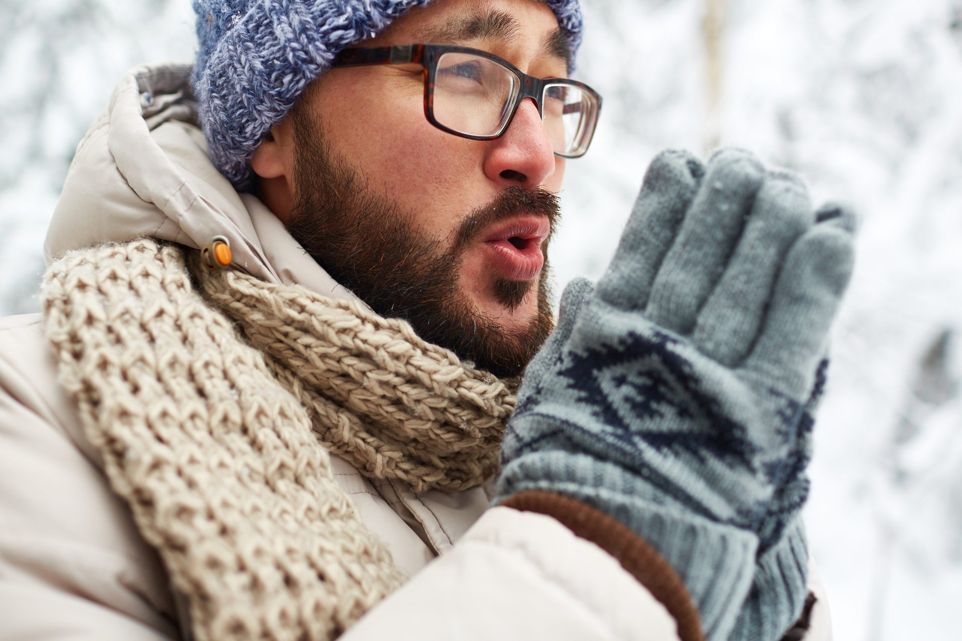 Man in winter clothing
