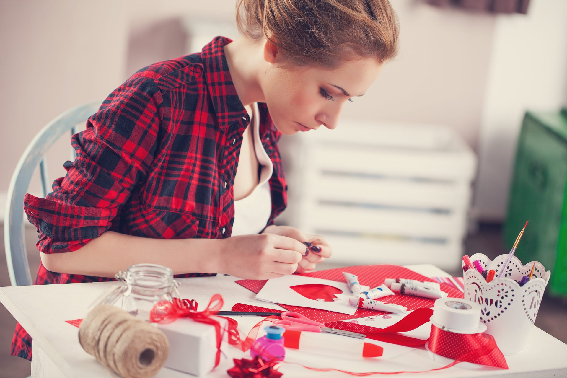 Woman crafting at home