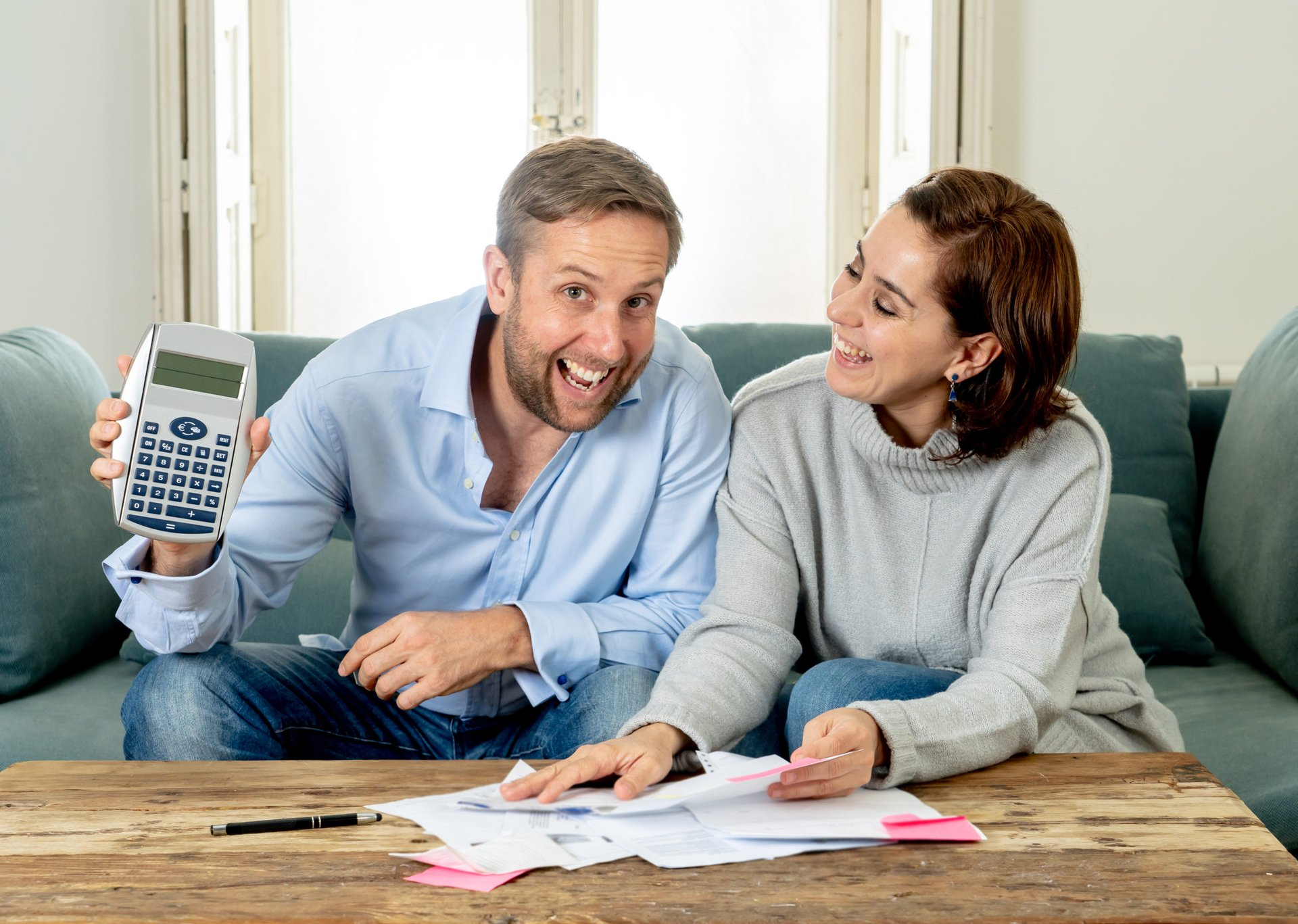 Couple doing their taxes