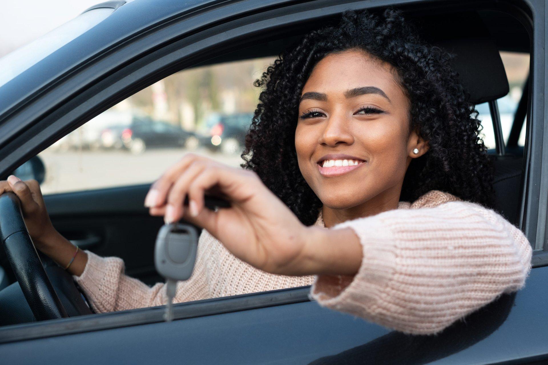 Happy female driver