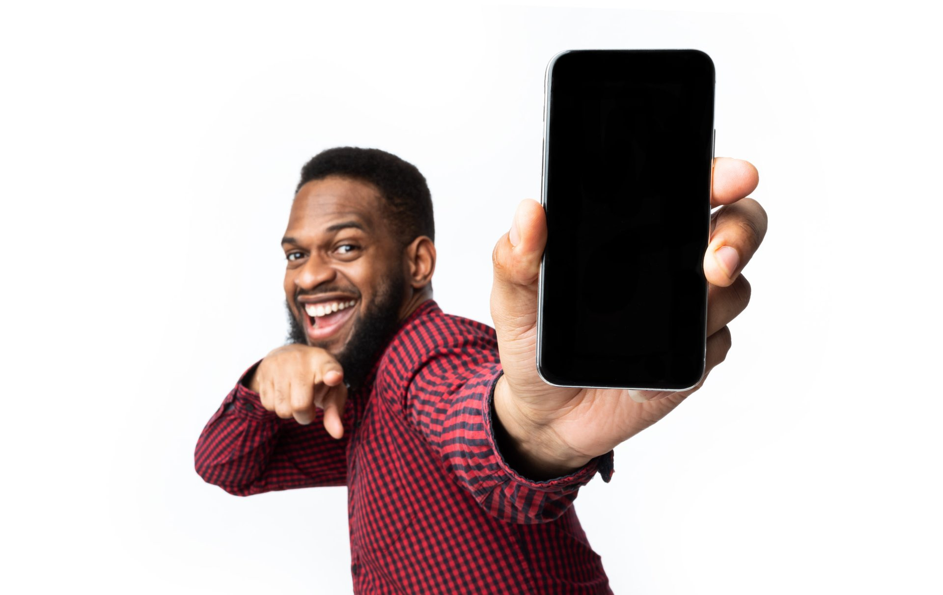 Happy man with cellphone
