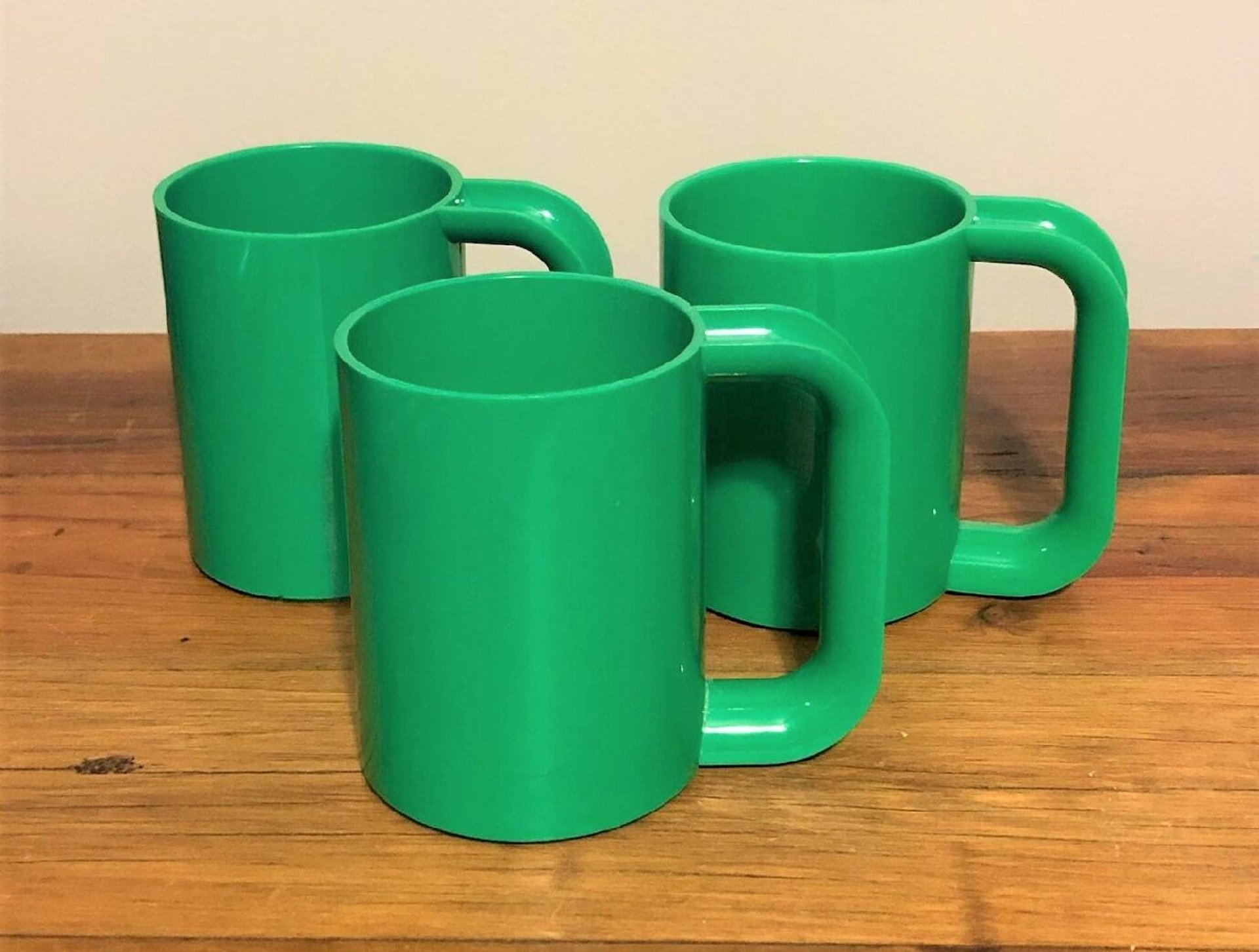 Vintage mugs designed by Massimo Vignelli and manufactured by Heller Inc.
