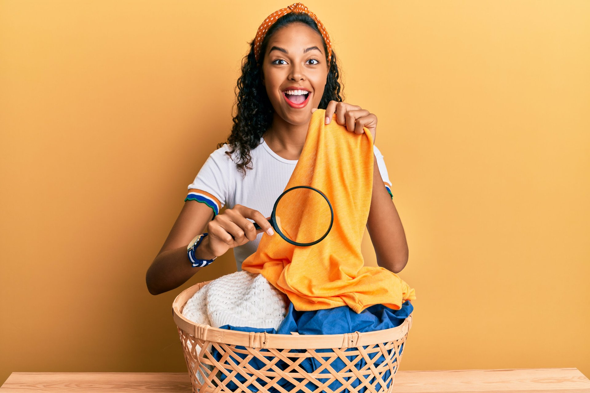 Woman holding clean laundry