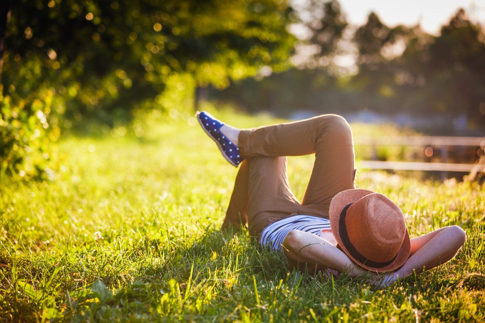 Girl relaxing outdoors