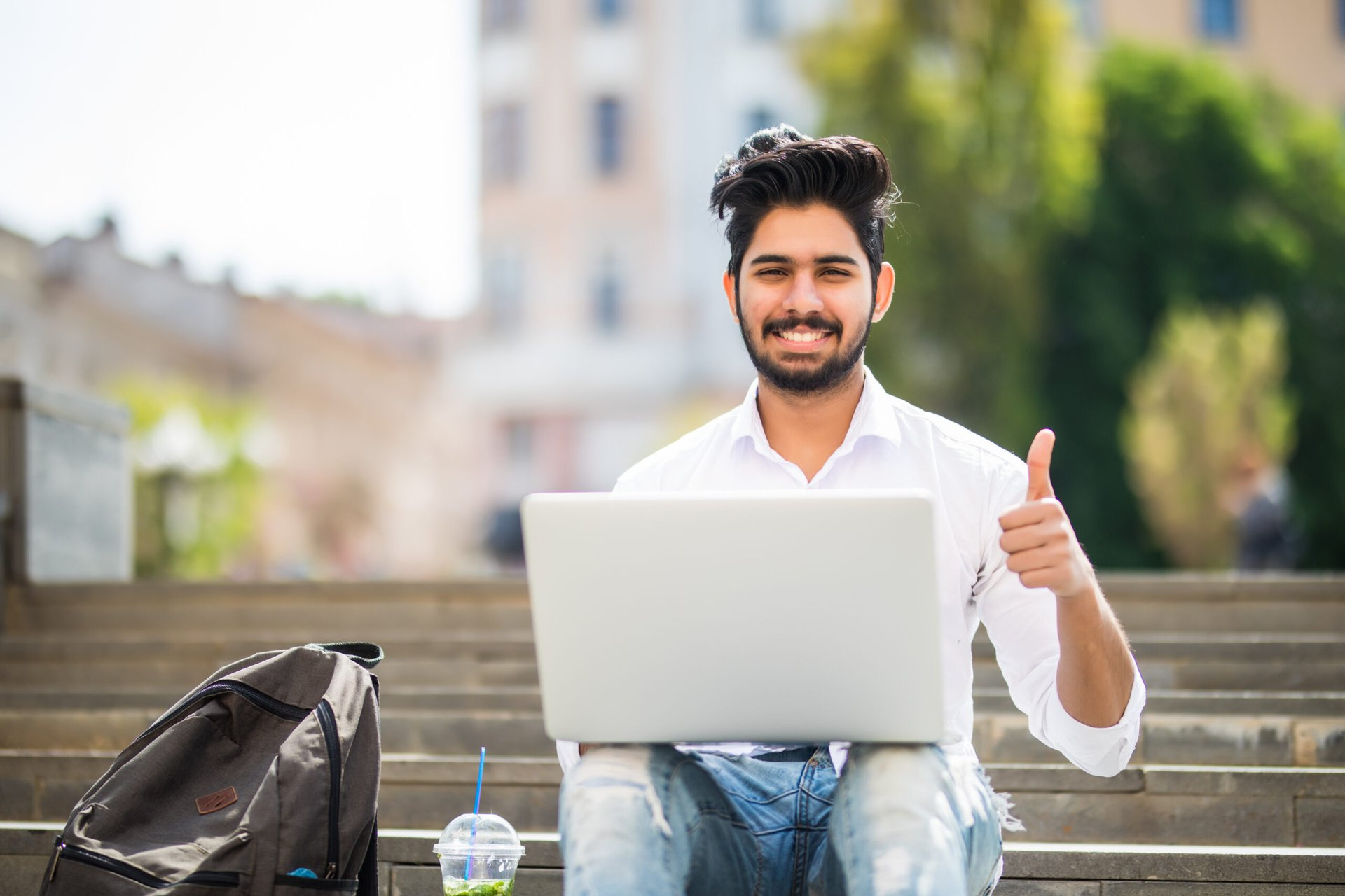 College student on a laptop
