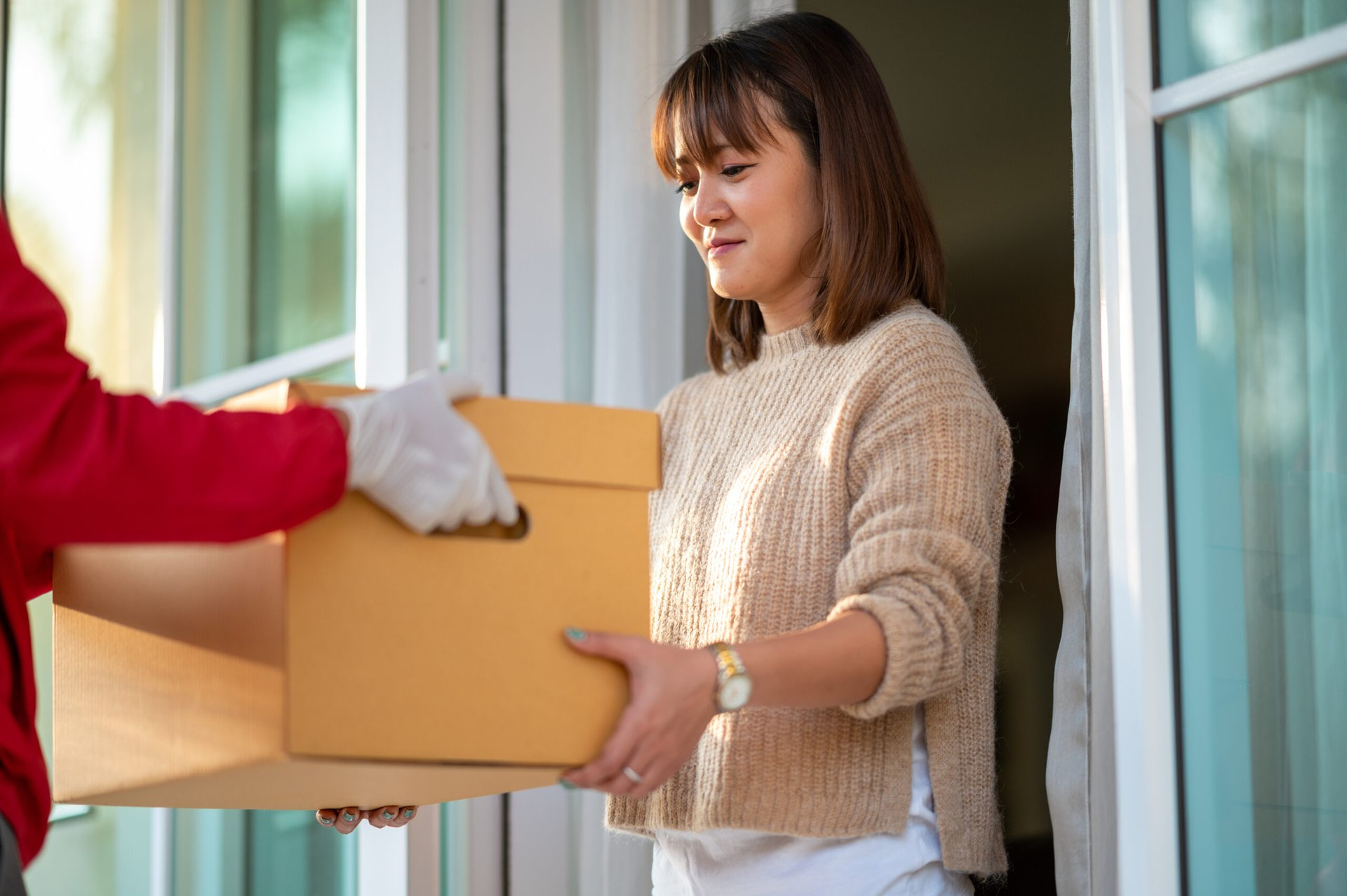 Woman receiving delivery