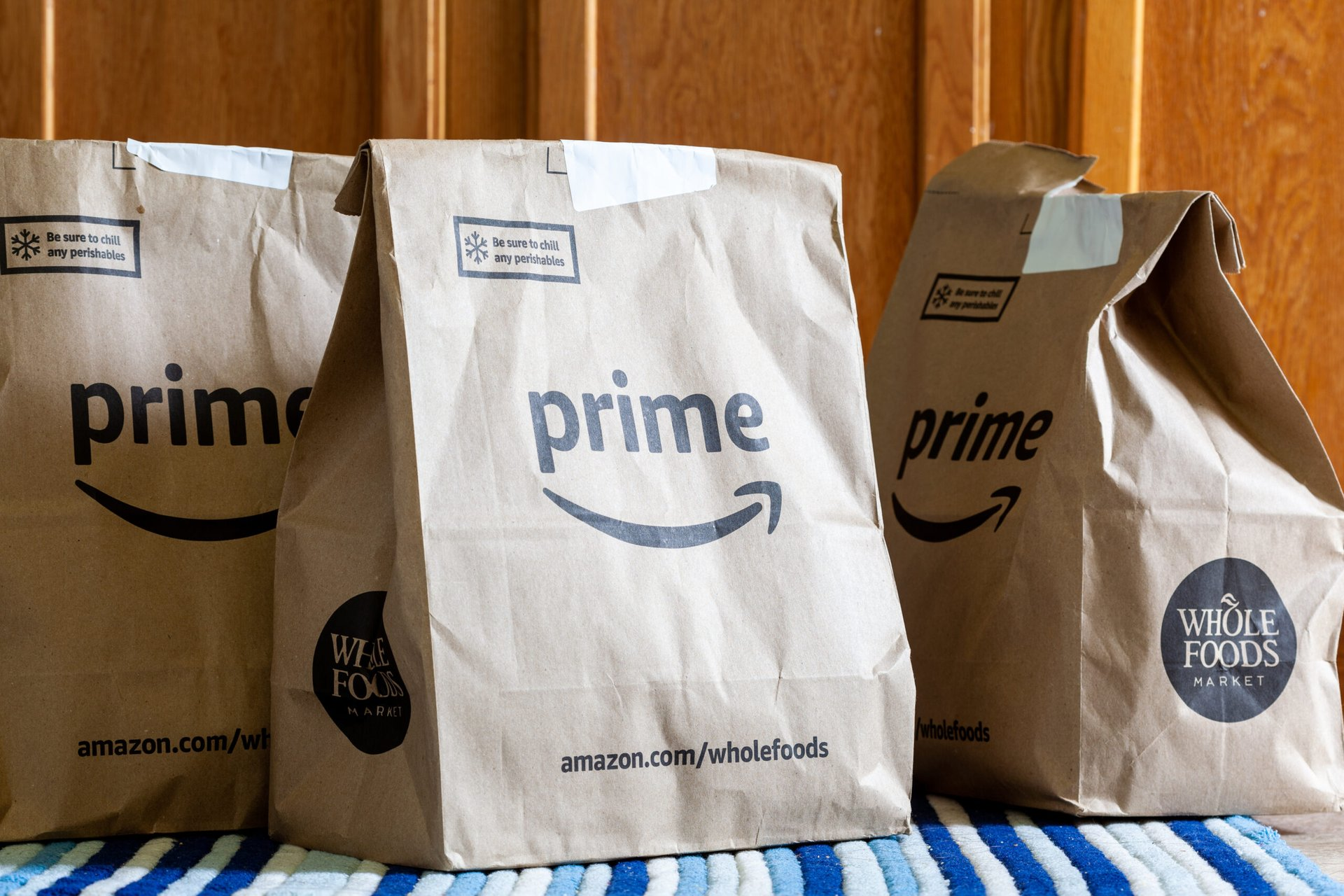 Bags of Whole Foods Market groceries delivered to an Amazon Prime member's home