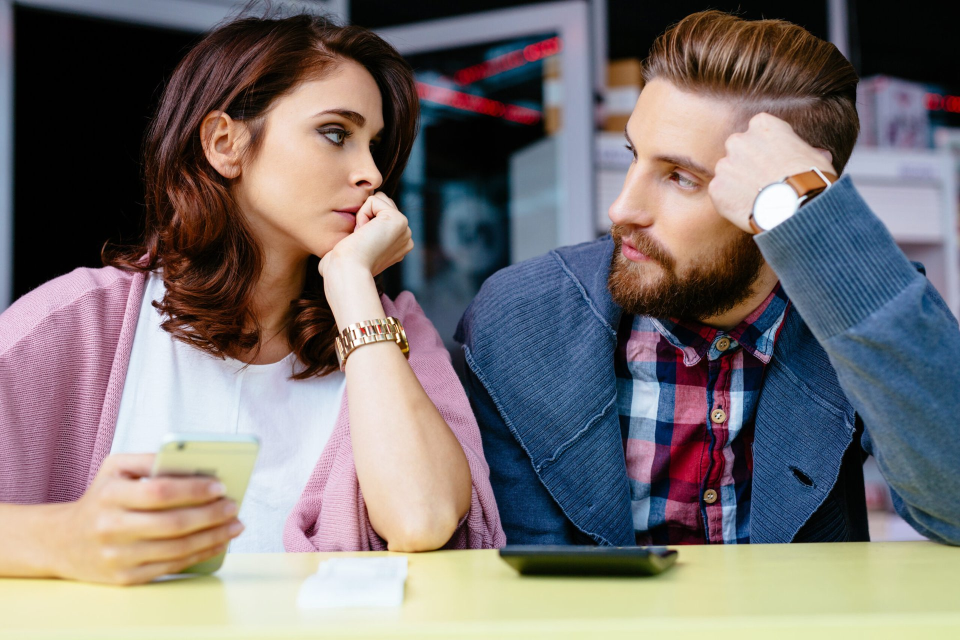 Couple worrying about their finances