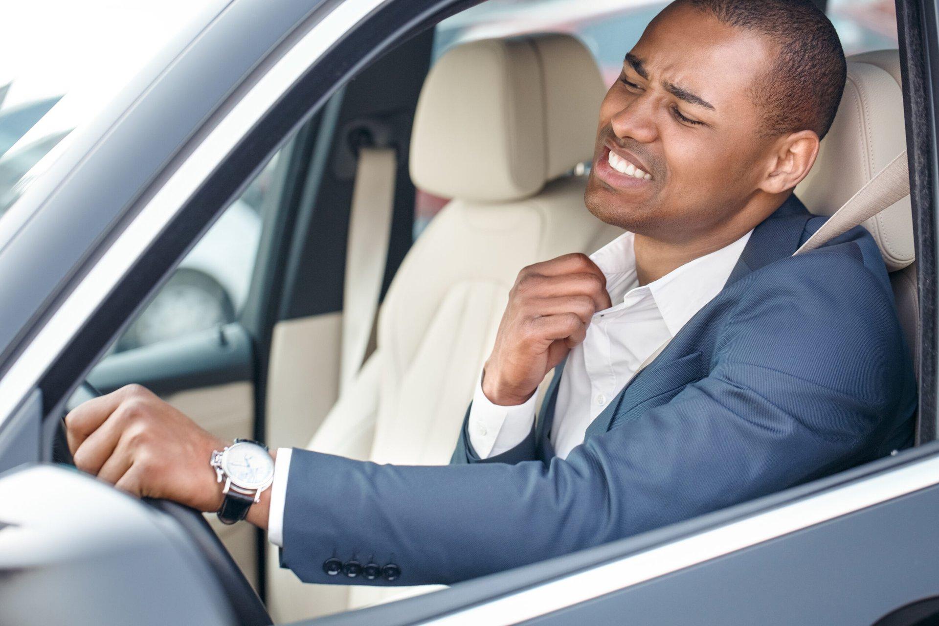 Driver sweating inside car