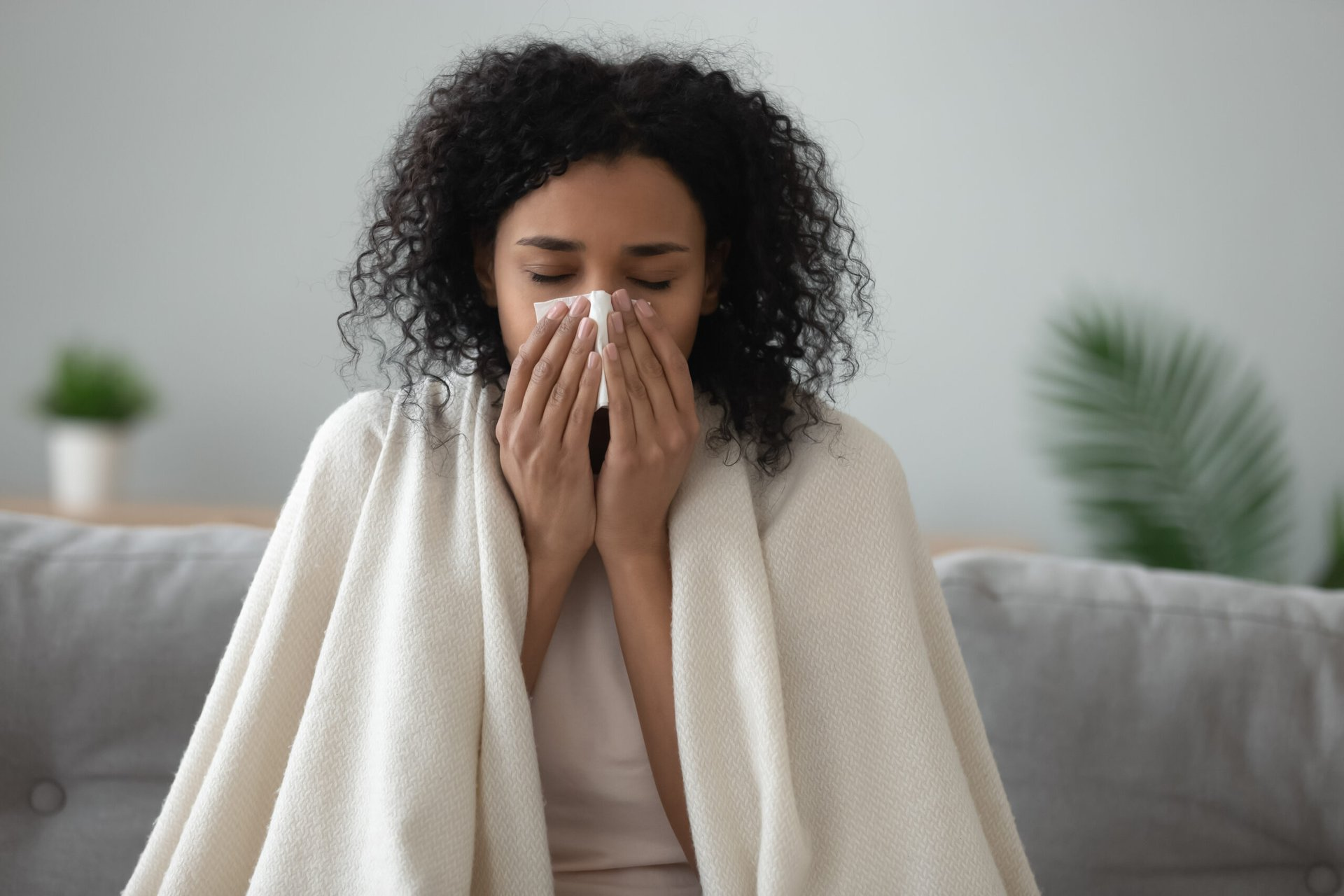 Woman ill with the flu