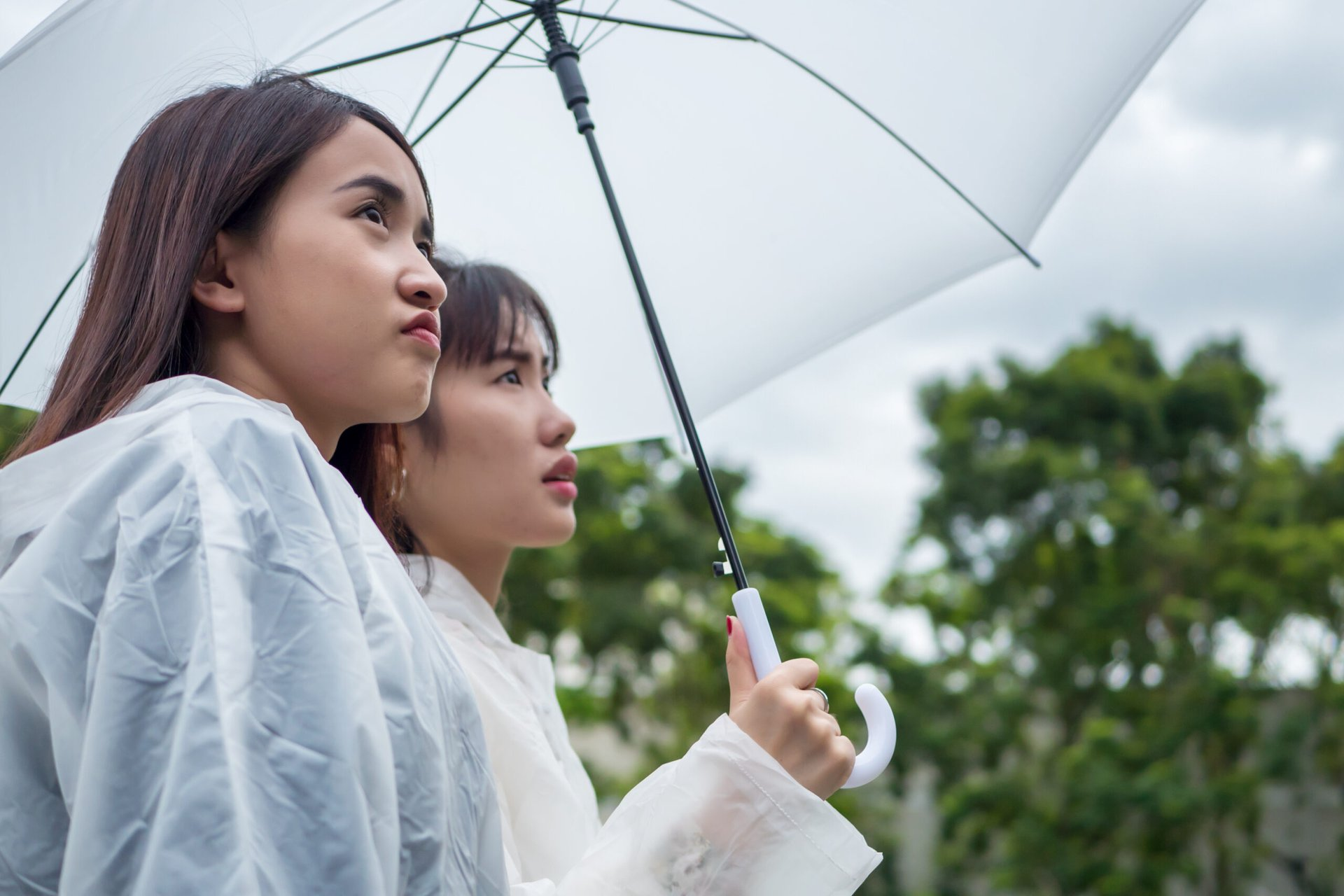 Unhappy women on a cloudy day