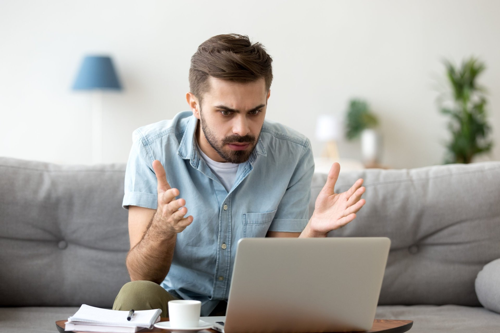 Man working from home with no internet