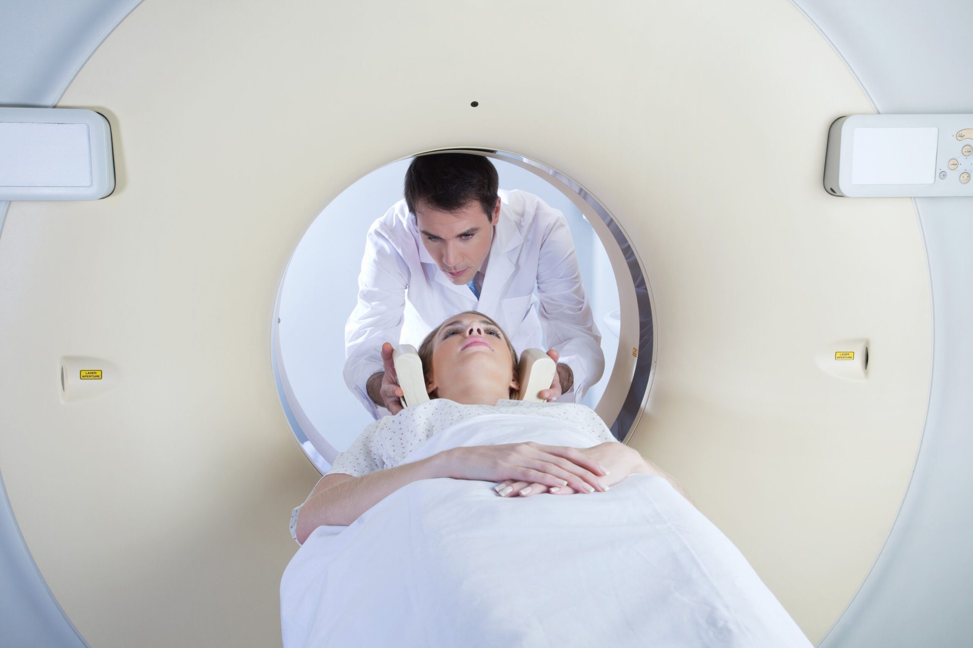 Woman getting CT scan