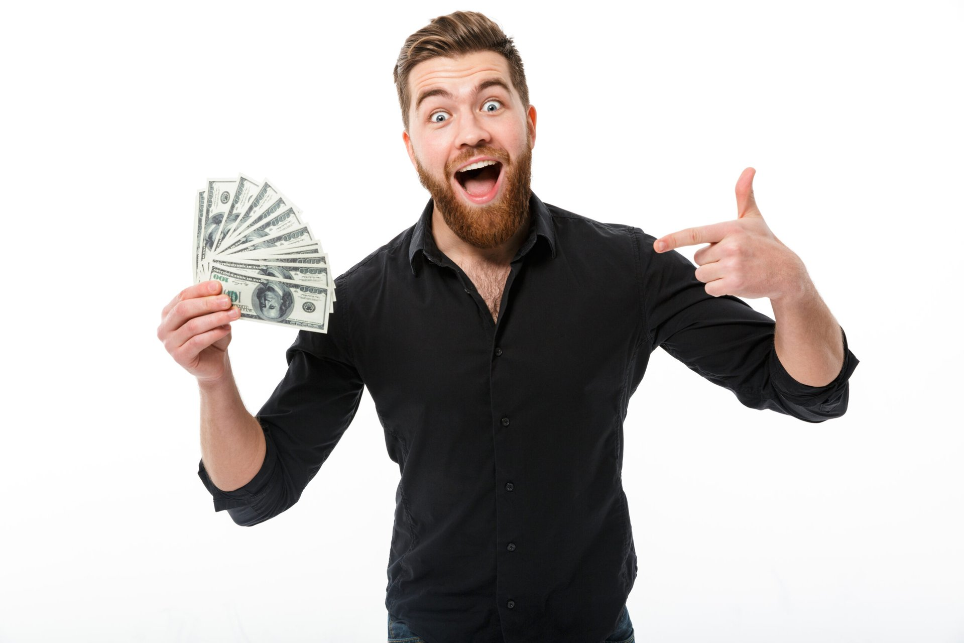 Happy man with beard excited about cash back or extra money