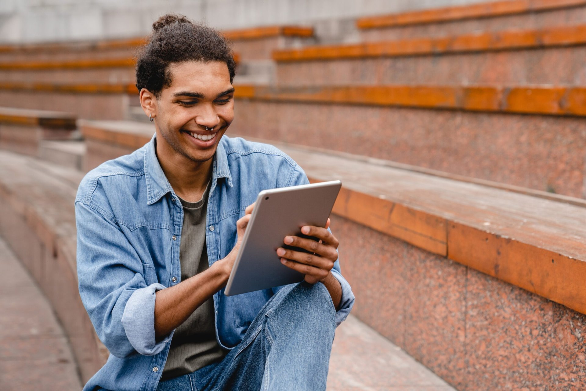 Man reading on a tablet