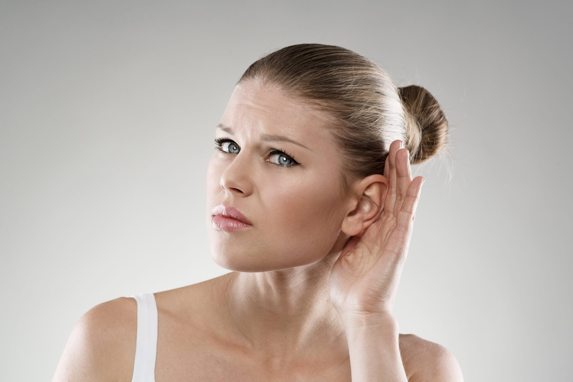 A woman with hearing problems