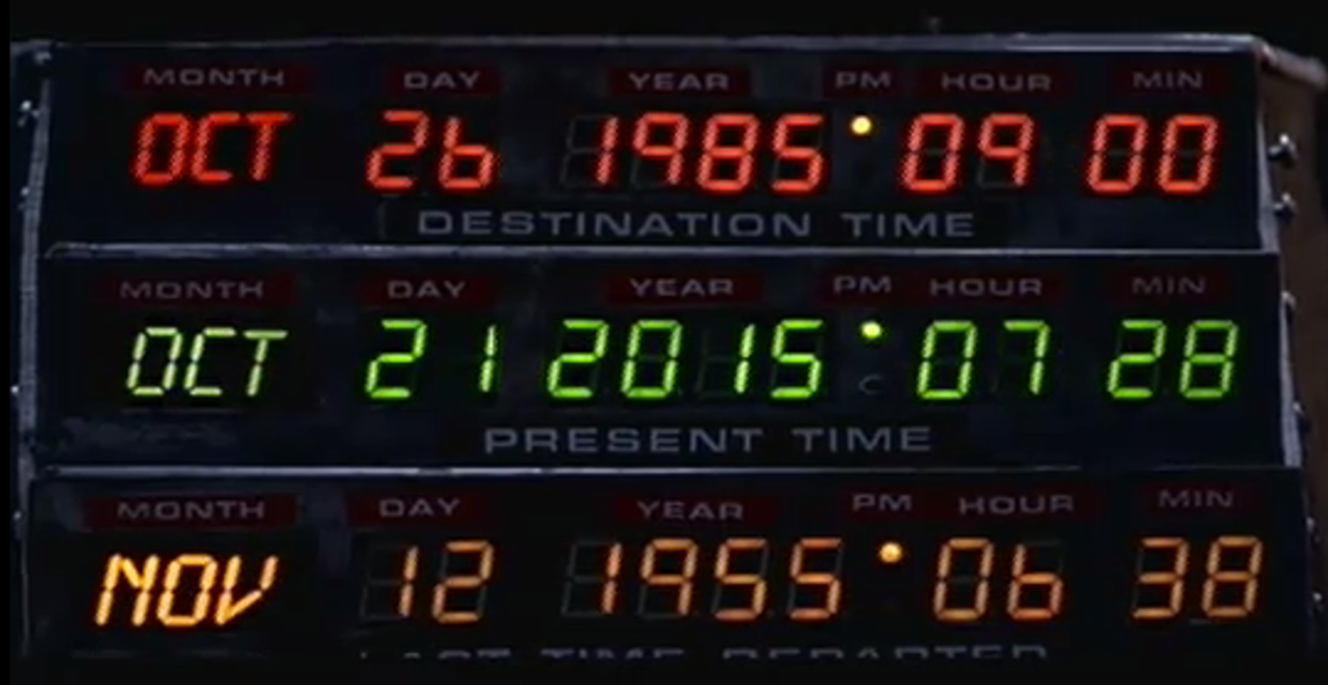 "Date on the flux capacitor in ""Back to the Future Part II."""
