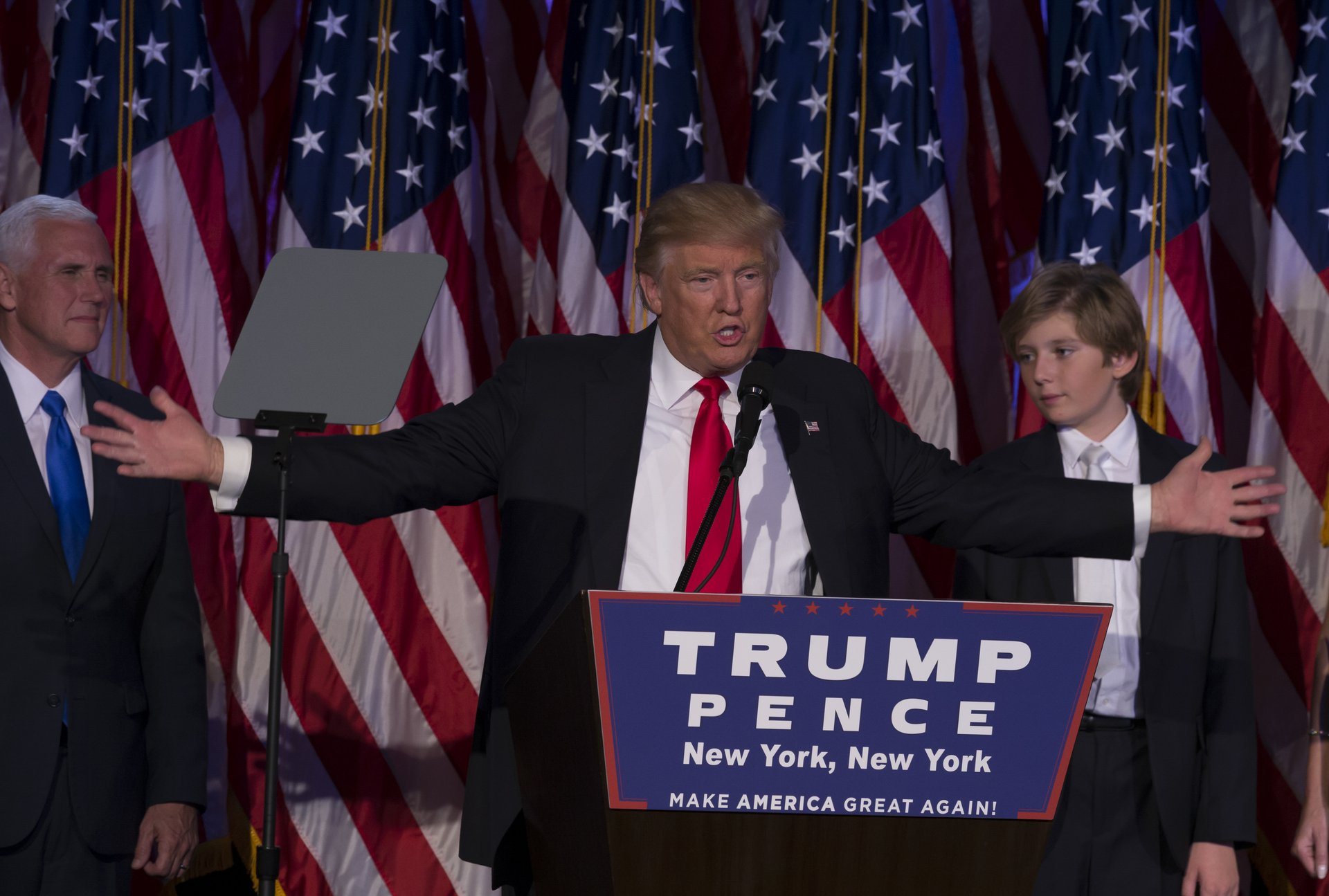 Donald Trump speaks at a New York victory party after winning the election November 8, 2016.