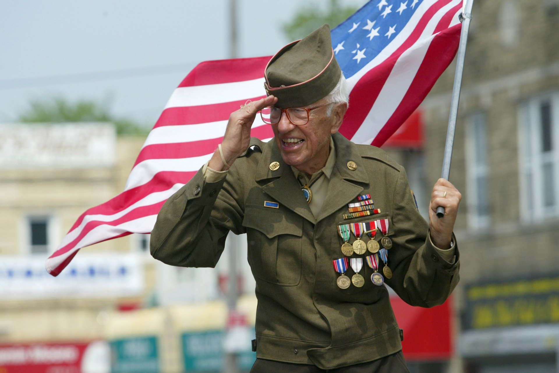 U.S. veteran with American flag