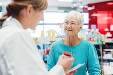 Senior getting a prescription at a pharmacy