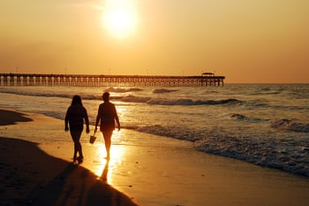 Couple strolling on Myrtle Beach at sunset