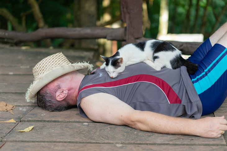 Man in a hat taking a nap with his cat outdoors
