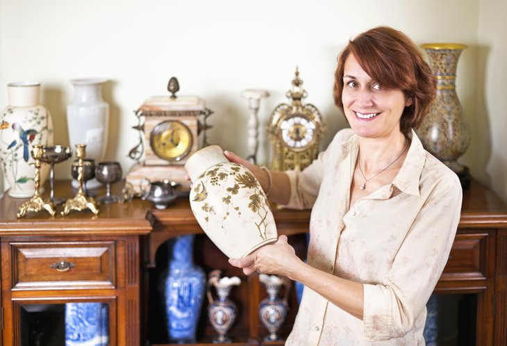 Woman with antique