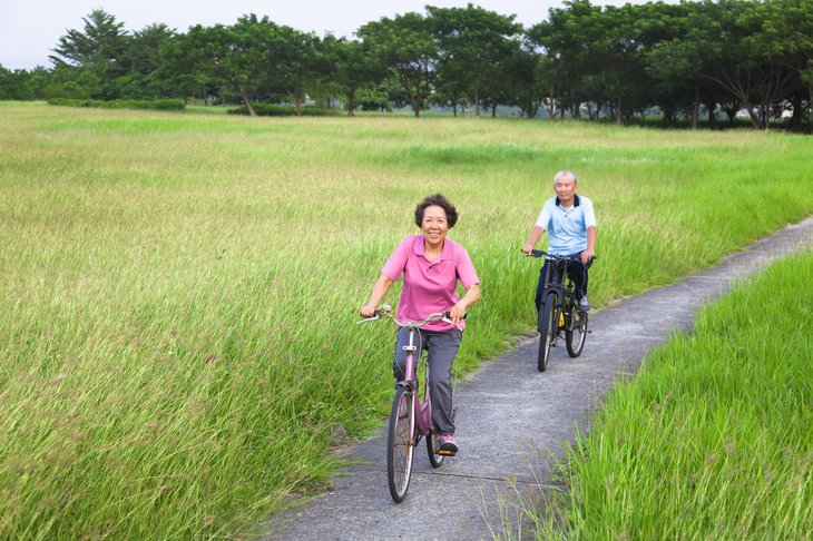 A senior Asian couple rides bicycles in a park