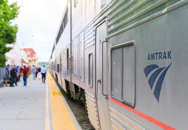 People board the Amtrak passenger train California Zephyr in Grand Junction, Colorado