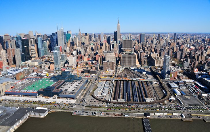An aerial view of Penn Station in Manhattan, New York City